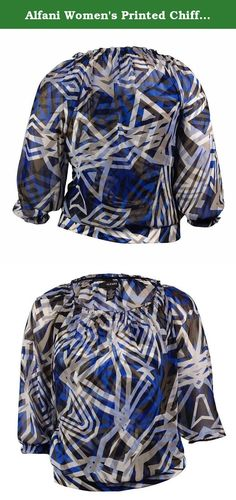 Alfani Women's Printed Chiffon Peasant Blouson Top (PM, Geo Web Blue). Blouse features full lining, scoop neck, shirring detail, 3/4 sleeves, printed chiffon fabric, blouson waist, jersey hem, and pullover style.