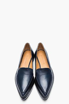 JIL SANDER Navy Leather Pointed Creeper Flats