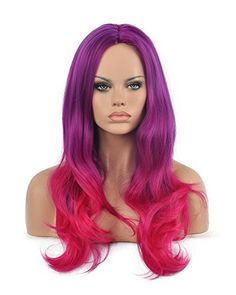 Diy-Wig Spunky Purple Root Ombre to Rose Red Long Straight Center Part Synthetic Party Full Head Wigs for Women Cosplay Wig Diy Wig, Purple Wig, Ombre Wigs, Wigs Online, Red Roses, Bangs, Color, Ribbon, Party