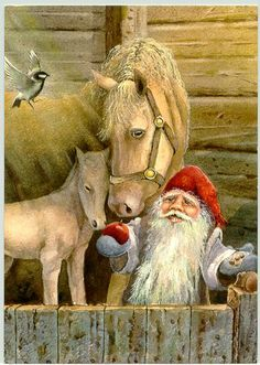Gnome in the stable. Swedish Christmas, Christmas Gnome, Scandinavian Christmas, Father Christmas, Christmas Eve, Vintage Christmas Cards, Christmas Pictures, Image Chat, Elves And Fairies