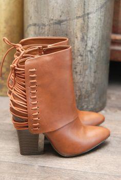 Image of Tie-Back Detail Vegan Leather Boot - Cognac