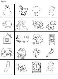 Rijmen - zoek het woord dat rijmt op het eerste plaatje English Activities, Kids Learning Activities, Toddler Activities, Visually Impaired Activities, Play To Learn, Educational Games, Letter Writing, Early Learning, Print Pictures