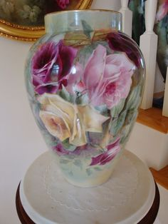 Huge 19th Century Antique Limoges France Hand Painted Porcelain Vase Spectacular ~Roses~