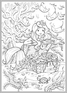 Mermaid coloring pages - Welcome to Dover Publications Little Mermaid Mates coloringbooks Mermaid Coloring Pages, Pattern Coloring Pages, Cute Coloring Pages, Coloring Pages For Girls, Disney Coloring Pages, Printable Coloring Pages, Coloring For Kids, Coloring Books, Alfabeto Disney