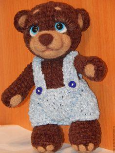 Купить Мишка вязаный - коричневый, вязаная игрушка, Вязание крючком, вязание спицами