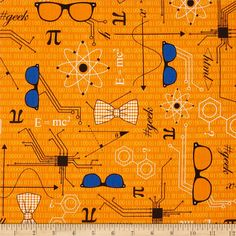 Mod Geek Eyeglasses Retro Orange from @fabricdotcom  Designed by Sarah Johnston for Kaufman Fabrics, this cotton print is perfect for quilting, apparel and home decor accents. Colors include white, black, green and orange.
