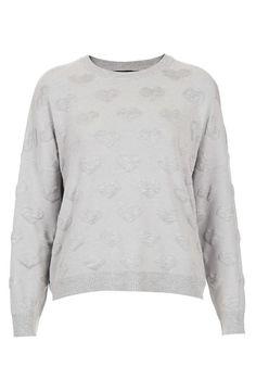 Topshop Quilted Heart Sweatshirt