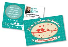 Valentine's themed postcard for real estate or small business #directmailmarketing #postcards #valentines