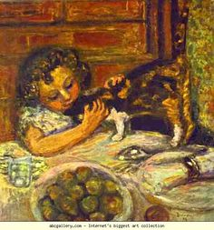 Pierre Bonnard. Little Girl with a Cat. Olgas Gallery.