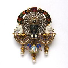 EGYPTIAN-REVIVALGIULIANO BLACKAMORE HEAD BROOCH Circa 1865-1895