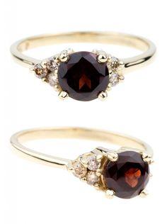 Garnet Gemstone Engagement Rings | Garnet Asymmetrical Avens Ring with Dark Champagne diamonds in 14kt yellow gold. | www.bario-neal.com