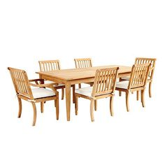 With its crisply tapered legs and gracious proportions, our Madison 7-Piece Dining has a timeless look designed to last. Part of our Madison collection, it's hand crafted of solid FSC-certified teak, making it naturally resistant to harsh weather and damaging insects. If left untreated, teak finish will mellow to a warm silvery gray over time. Madison Teak Dining Set features: Includes 84 Classic Rectangular Teak Table, 4 Madison Side Chairs & 2 Madison Arm ChairsCoordinates with our…