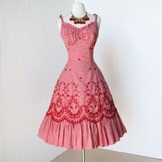 vintage 1950's dress ...never worn ALIX of MIAMI red gingham embroidered scalloped full skirt pin-up dress with tulle crinoline underskirt