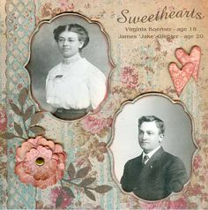 Sweethearts ~ Simple and beautiful heritage page with punched border and interesting photo shapes.