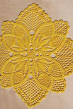 Handmade crochet doily square Size - * inches * 40 cm) Material - cotton Color - yellow (color Please pick the color for doily. Color samples can be seen in the photo. Crochet Circles, Crochet Round, Filet Crochet, Crochet Motif Patterns, Crochet Designs, Crochet Dollies, Pineapple Crochet, Crochet Table Runner, Crochet Bookmarks