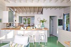 1950's modern cottage Reno. Again with painted floor joists.  Sarah Richardson's Cottage Rental from HGTV Canada Series