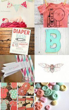 red, pink, and aqua baby shower // etsy treasury list