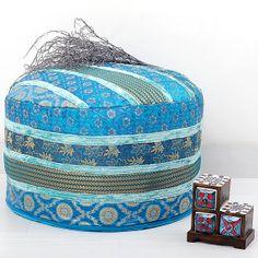 Turquoise Indian Pouf Ottoman, pouffe pouffes, Foot Stool, Round Pouf Ottoman, Bean Bag, Floor Pillow Ottoman, Indian Pillow Poof Ottoman