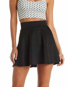 High-Waisted Skater Skirt: Charlotte Russe Quick Tip: if you got it wear the whole outfit Skater Skirt Outfit, High Waisted Skater Skirt, Black Skater Skirts, Skirt Outfits, Dress Skirt, Cute Outfits, Fashion 101, Daily Fashion, Teen Fashion