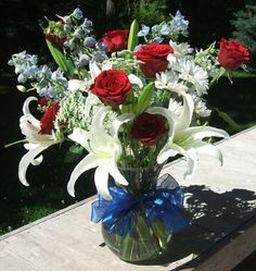 Delphiniums nigella and red white blue on pinterest for Red white blue flower arrangements