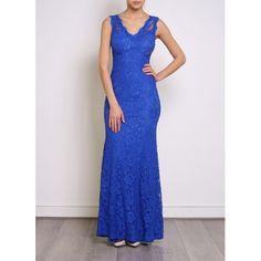 Vestido Fiesta Largo Encaje Azul   Suen-Vestidos de fiesta