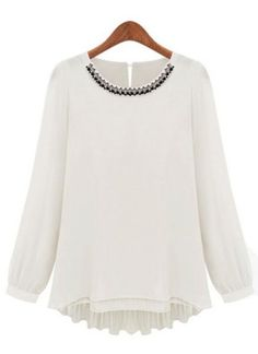 White Long Sleeve Rhinestone Chiffon Blouse