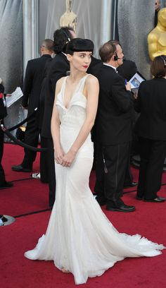 Rooney Mara rocked a delicate white Givenchy Couture gown with a train from the designer's Spring 2009 collection.