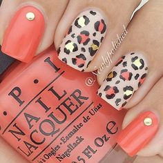 50 Stylish Leopard and Cheetah Nail Designs - For Creative Juice - Leopard or Cheetah Nails with Studs. This nail design is using coral and nude polish as base coatin - Cheetah Nail Designs, Leopard Print Nails, Nail Art Designs, Leopard Prints, Coral Nail Designs, Coral Nails With Design, Animal Prints, Leopard Nail Art, Pedicure Designs