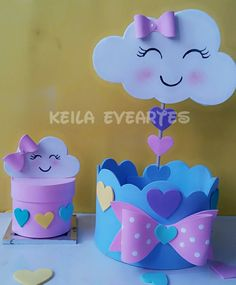 41 Ideas For Diy Baby Girl Shower Ideas Center Pieces Kids Crafts, Foam Crafts, Diy And Crafts, Paper Crafts, Baby Shower Decorations Neutral, Baby Shower Centerpieces, Diy Jewelry Recycled, Cloud Party, Diy Gifts For Mothers