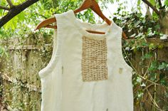 Boro Styled Cotton/Linen Tunic Top/ Womens by RebirthRecycling, $35.00