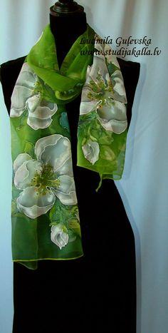 Natural silk shawl floral apple blossom green by Studijakalla