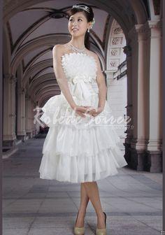 1e053c9377a Robe de Mariée Courte-A-ligne bretelles thé longueur manches robe robe de  mariée blanche. Robe de Soiree