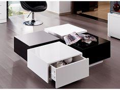 Mesa de centro CARMEN - 4 cajones - MDF lacado blanco y negro