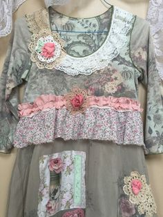 Upcycled Clothing Pink Roses Floral Sage by SimplyCathrineAnn