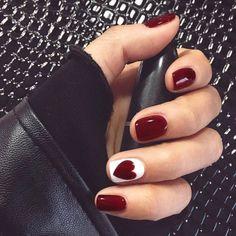 Cute Acrylic Nails, Cute Nails, Pretty Nails, Pretty Short Nails, Red Gel Nails, Red Manicure, Acrylic Tips, Deep Red Nails, Minx Nails