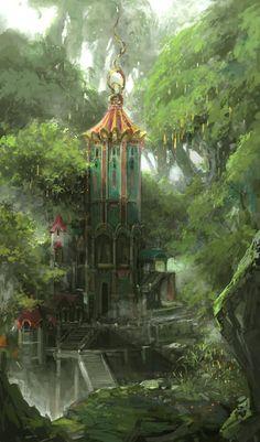 New Ideas House Forest Fantasy Elves Fantasy City, Fantasy Forest, Fantasy Castle, World Of Fantasy, Fantasy Places, High Fantasy, Fantasy Trees, Elves Fantasy, Fantasy Art Landscapes