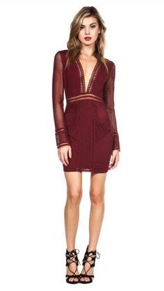 3fa701768e Izabel Burgundy Crochet Bandage Bodycon Party Dress Wine Dress