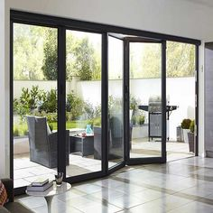 Folding Glass Patio Doors, Bifold Doors Onto Patio, Exterior Doors With Glass, Folding Doors, Bifold Glass Doors, Double Sliding Patio Doors, Exterior Sliding Glass Doors, Exterior Patio Doors, Modern Patio Doors