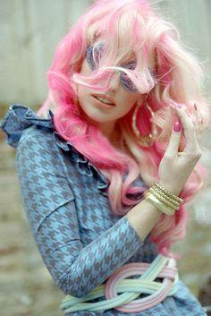 blonde and pink hair  #pink #hairextensions #hair #unusual #original #striking #hairstyles #haircolors #pastels #hairdo #extensions #curls