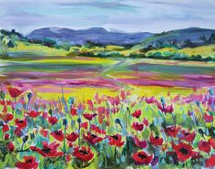 Original Painting Acrylic Red Poppies Art Field by JBeaudetStudios