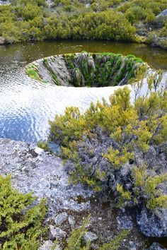 Natural sink hole in Limestone escarpment - Serra da Estrela Mountain, Portugal