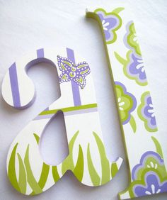 Custom Hand Painted Decorative Wooden Wall Letters by PoshDots, $22.00