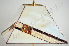 Amber decorated stained glass table lamp Tiffany by AmberGlassArt