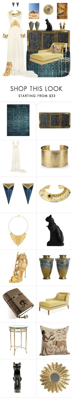 """Ancient Cultures: Egyptian Style"" by nrspinks ❤ liked on Polyvore featuring Loloi Rugs, Flair, Needle & Thread, Blue Nile, Alexis Bittar, Misis, BERRICLE, Giuseppe Zanotti and Safavieh"