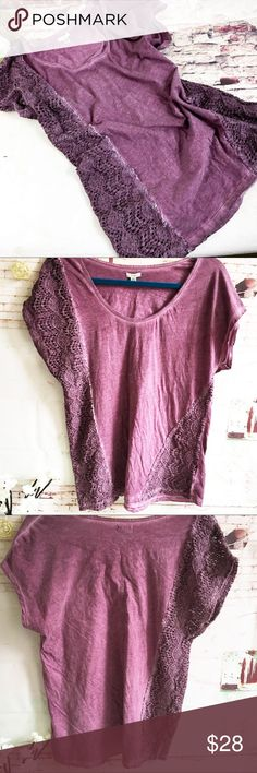 ECOTE Dark Raspberry Top, Size Medium ECOTE Dark Raspberry Top, Size Medium.  Crochet and lace down one side.  EUC Ecote Tops