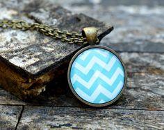 Chevron Pendant Necklace : Mint Chevron. Chevron Jewelry. Mint Color Necklace. Art Pendant. Bronze Jewelry. Handmade Jewelry. Lizabettas