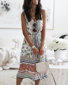 Descriptions: Style: Casual,Holiday Pattern: Floral Detail: Self-tie, Print Collar: V neck Sleeves Type: Sleeveless Length: Midi Dress Material: Polyester Seas Casual Dresses, Fashion Dresses, Summer Dresses, Maxi Dresses, Shift Dresses, Vacation Dresses, Long Dresses, Cheap Dresses, Summer Outfits