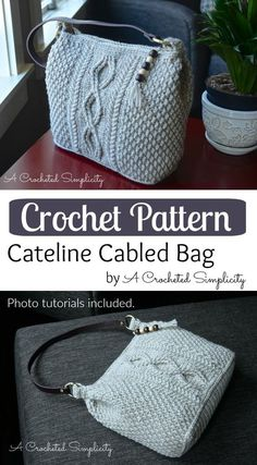 Just Be Crafts: Crochet Pattern - Cateline Cabled Bag