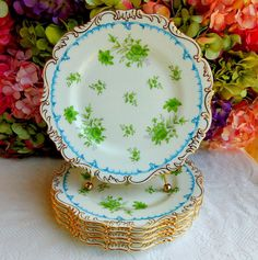 6 Gorgeous Vintage Cauldon Porcelain Plates ~ Green Floral ~ Gold Gilt #Cauldon