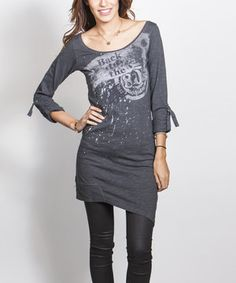 Love this Dark Gray 'Back to the '80s Again' Scoop Neck Tunic by ANAMÁ on #zulily! #zulilyfinds